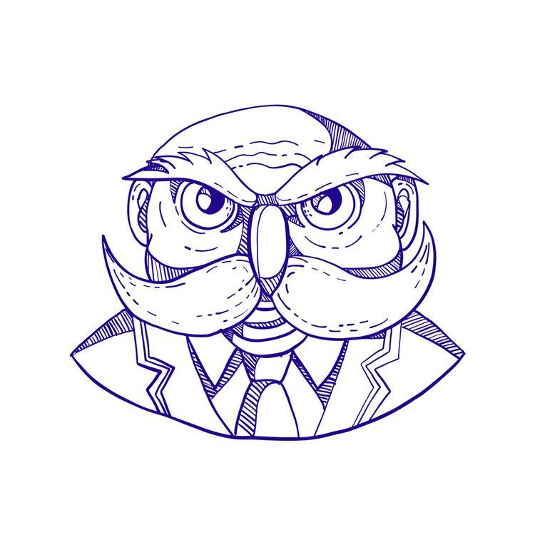 Angry Owl Man Mustache Doodle - AngryOwl - patrimonio | ello