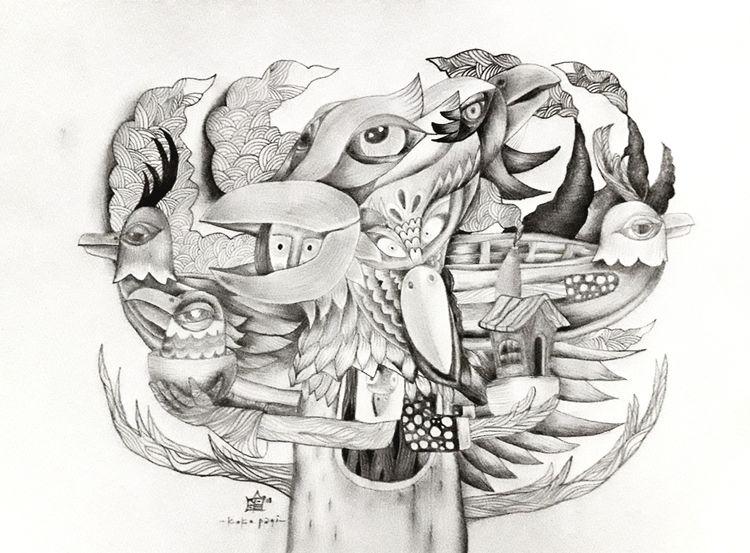 Peace Drawing pencil A3 paper 2 - pagiku | ello