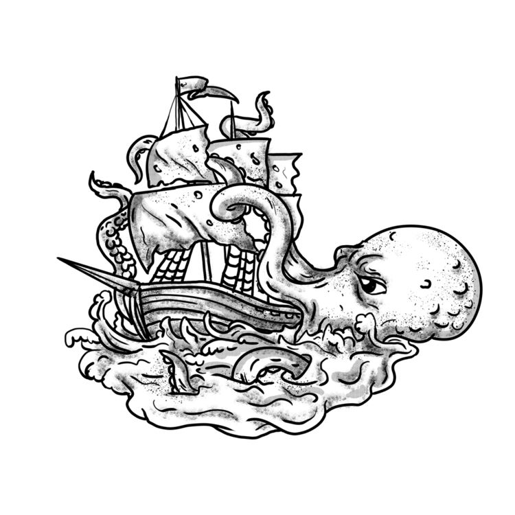 Kraken Attacking Ship Tattoo Gr - patrimonio | ello