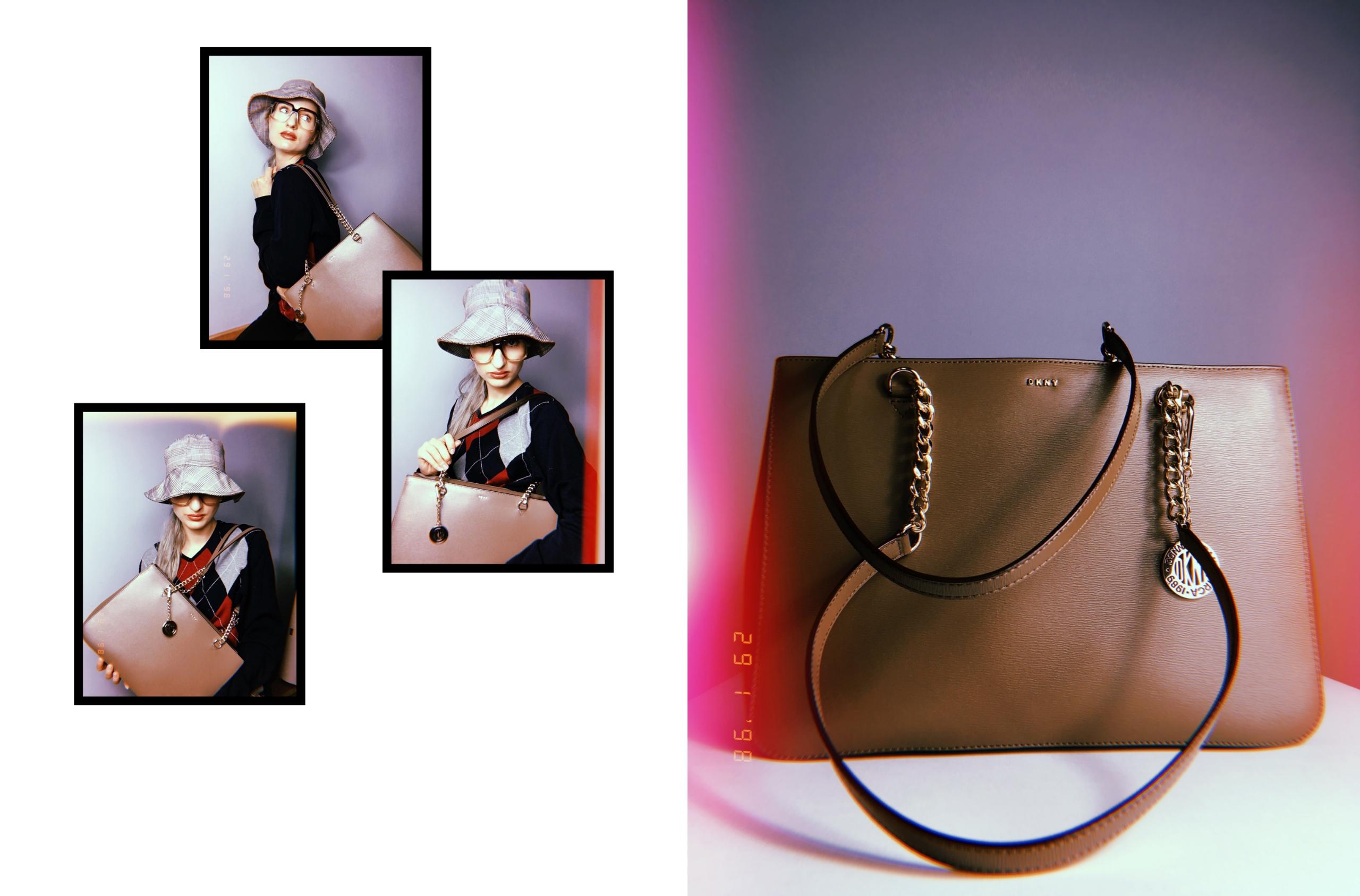 Obraz przedstawia cztery zdjęcia, jedno dużej wielkości trzy mniejszej wielkości. Z lewej strony widzimy zdjęcie torebki, z prawej małe fotografie postaci.