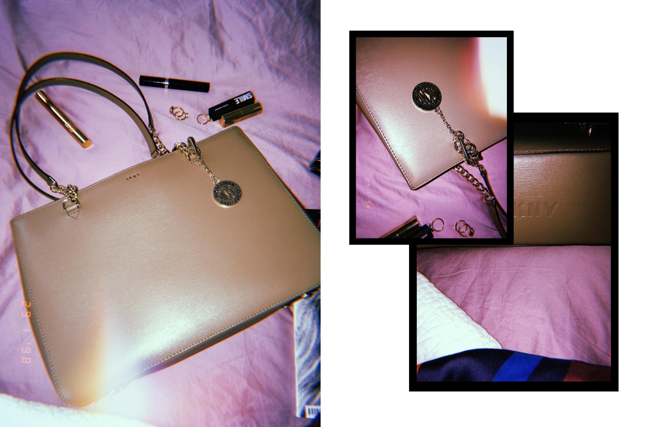 Obraz przedstawia trzy zdjęcia brązowej torebki. Dwa z nich są mniejszej wielkości i nachodzą na siebie.