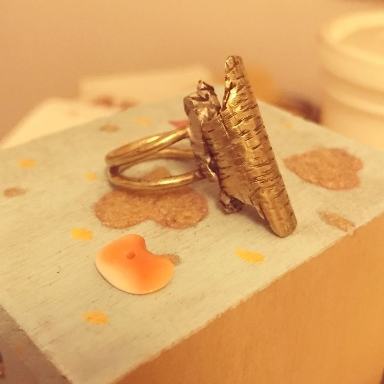 Ring. Brass, silver pink shell  - mariaelen | ello