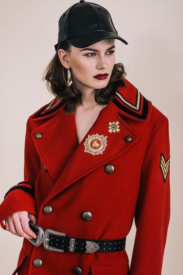 Tia wearing Zara Man Red Milita - lookitsmarko   ello