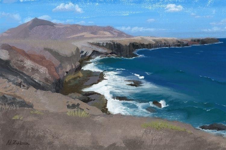 Lanzarote coast digital paintin - nelidazubia | ello