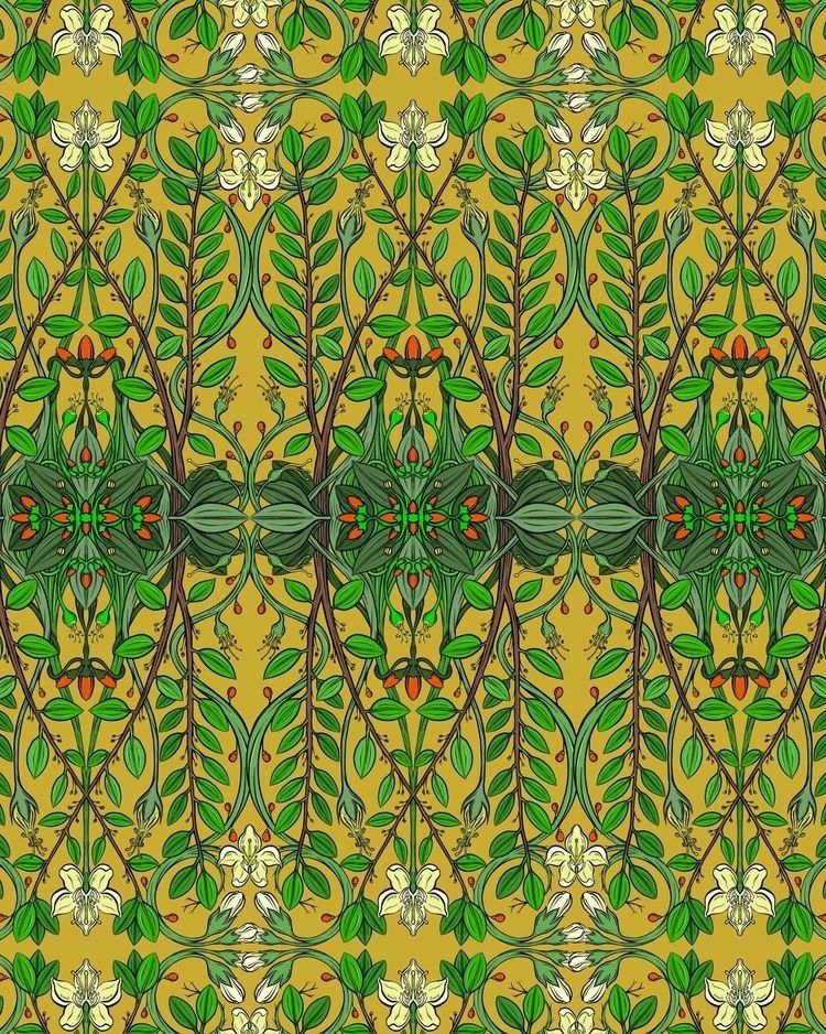 Coca botanical pattern ochre ta - soper | ello