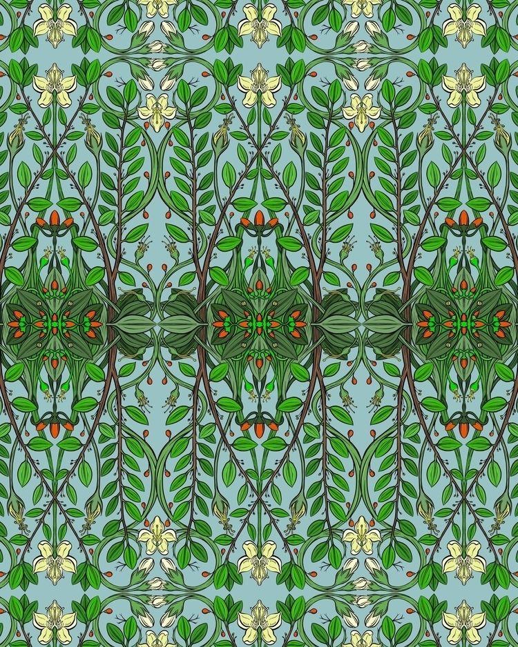 Coca botanical pattern blue - design - soper | ello
