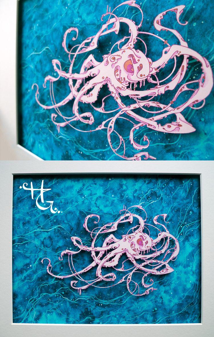 Bio-mechanical Octopus hand cut - hazelglass | ello