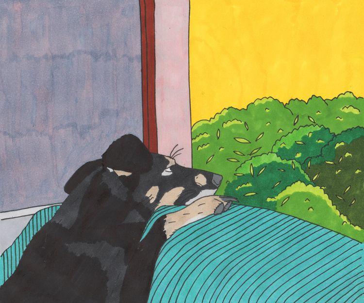 melancholic dog - illustration - a_najder | ello