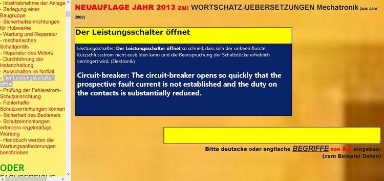 Uebersetzungs-Datenbank: deutsc - mechatronik-lehrmittel-wagner | ello