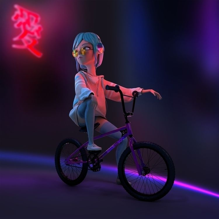 Glow BMX girl - blender, zbrush - zylvia_art | ello
