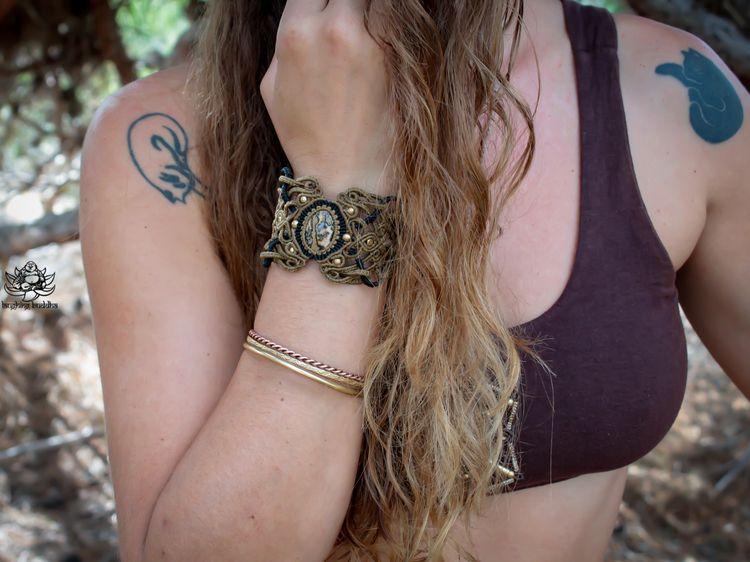 Macrame cuff bracelet leopard s - laughingbuddhaart | ello