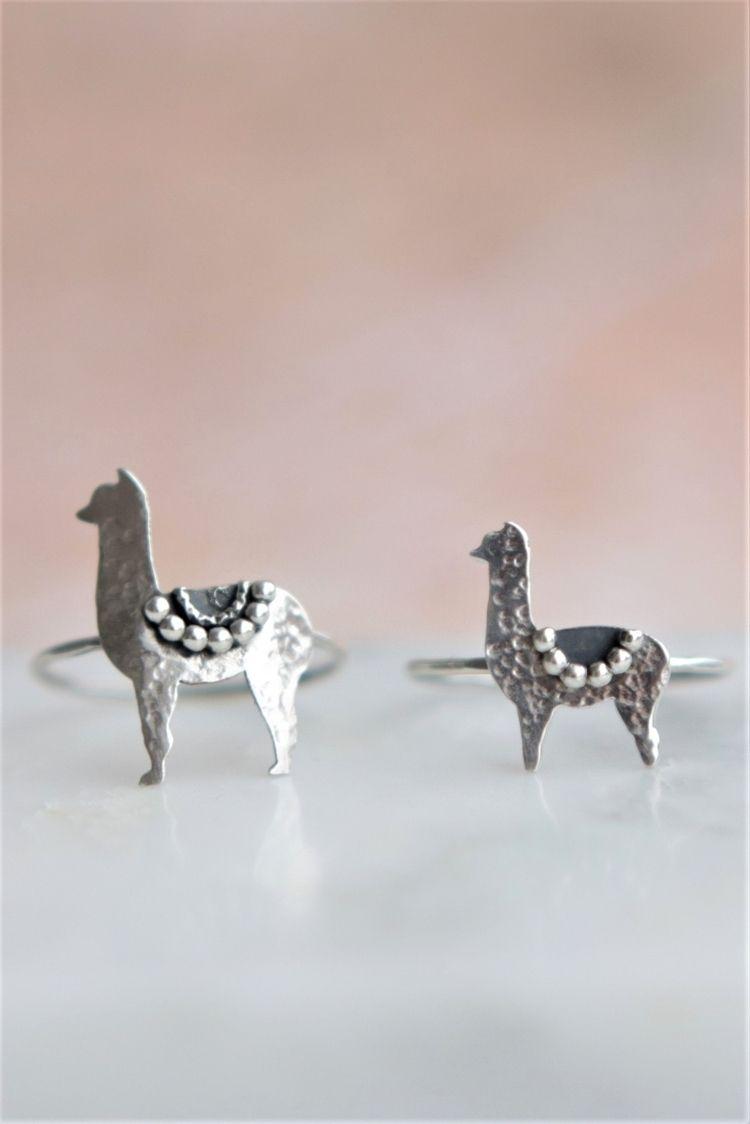 cute Llama-Alpaca dainty rings - stardustmine | ello