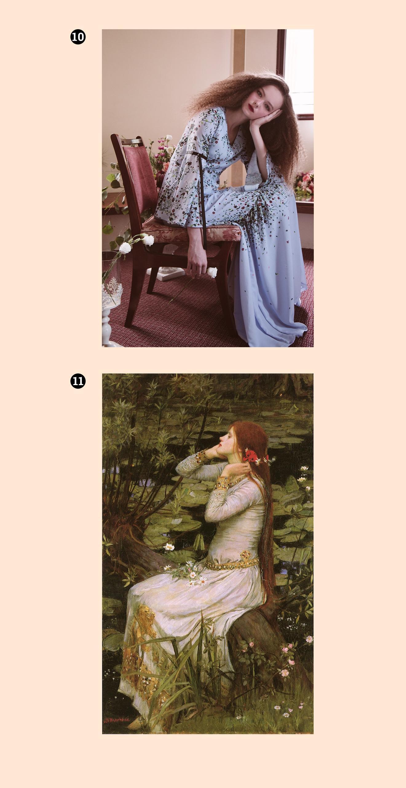 Obraz przedstawia jeden obraz i jedno zdjęcie na jasnym tle. Widzimy postaci kobiece.