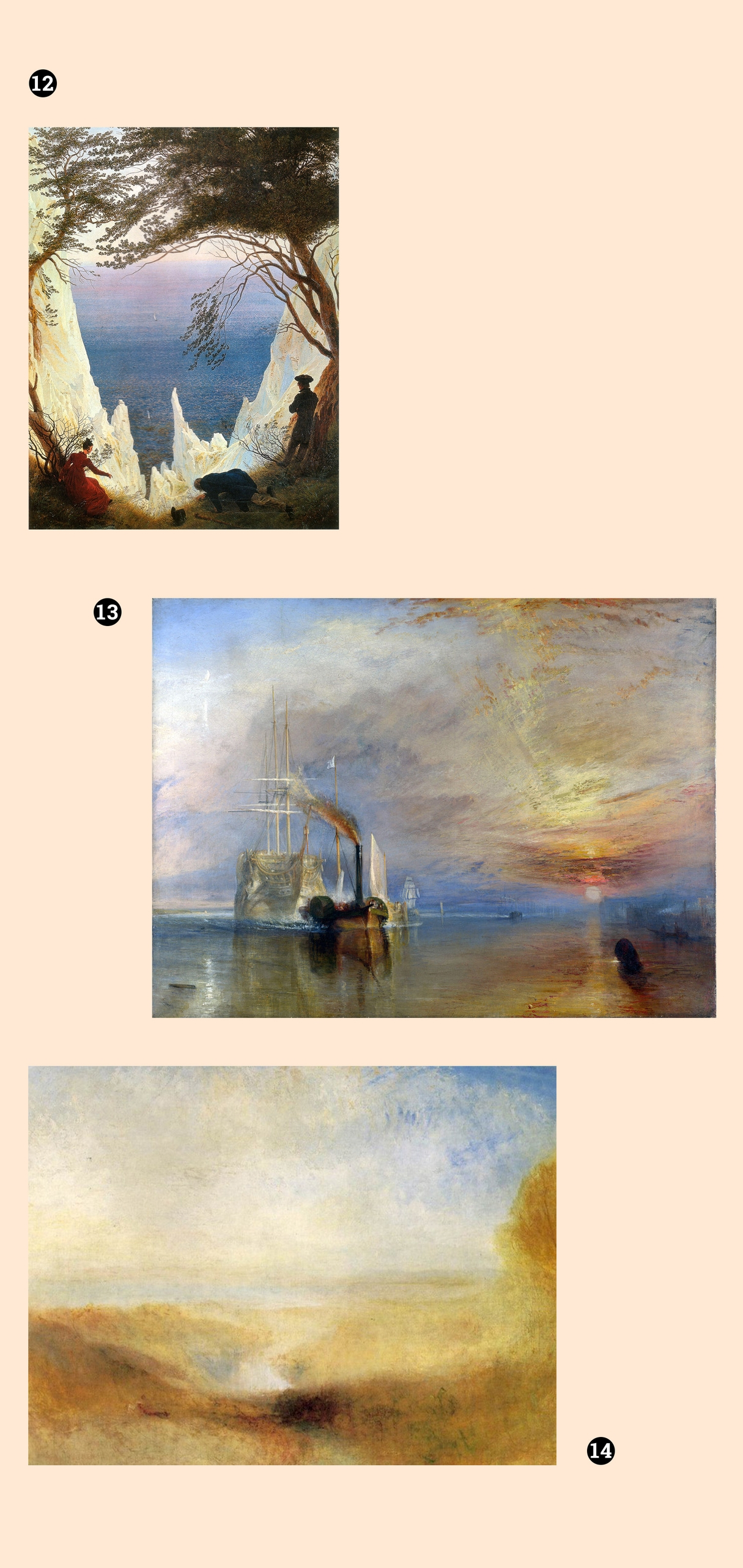 Obraz przedstawia trzy pejzaże na jasnym tle.