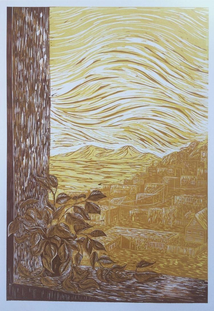 Bayview Hillside Woodcut Print - shaky_hands_press | ello