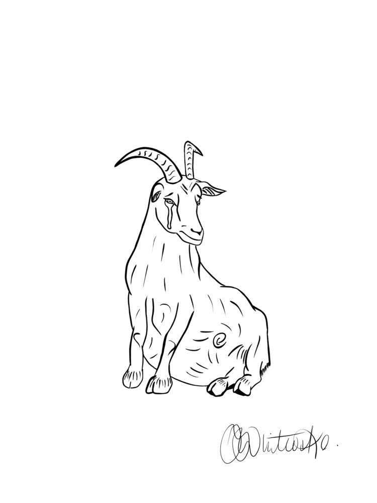 Sad goat boi - art, illustration - itsjoccoaa | ello