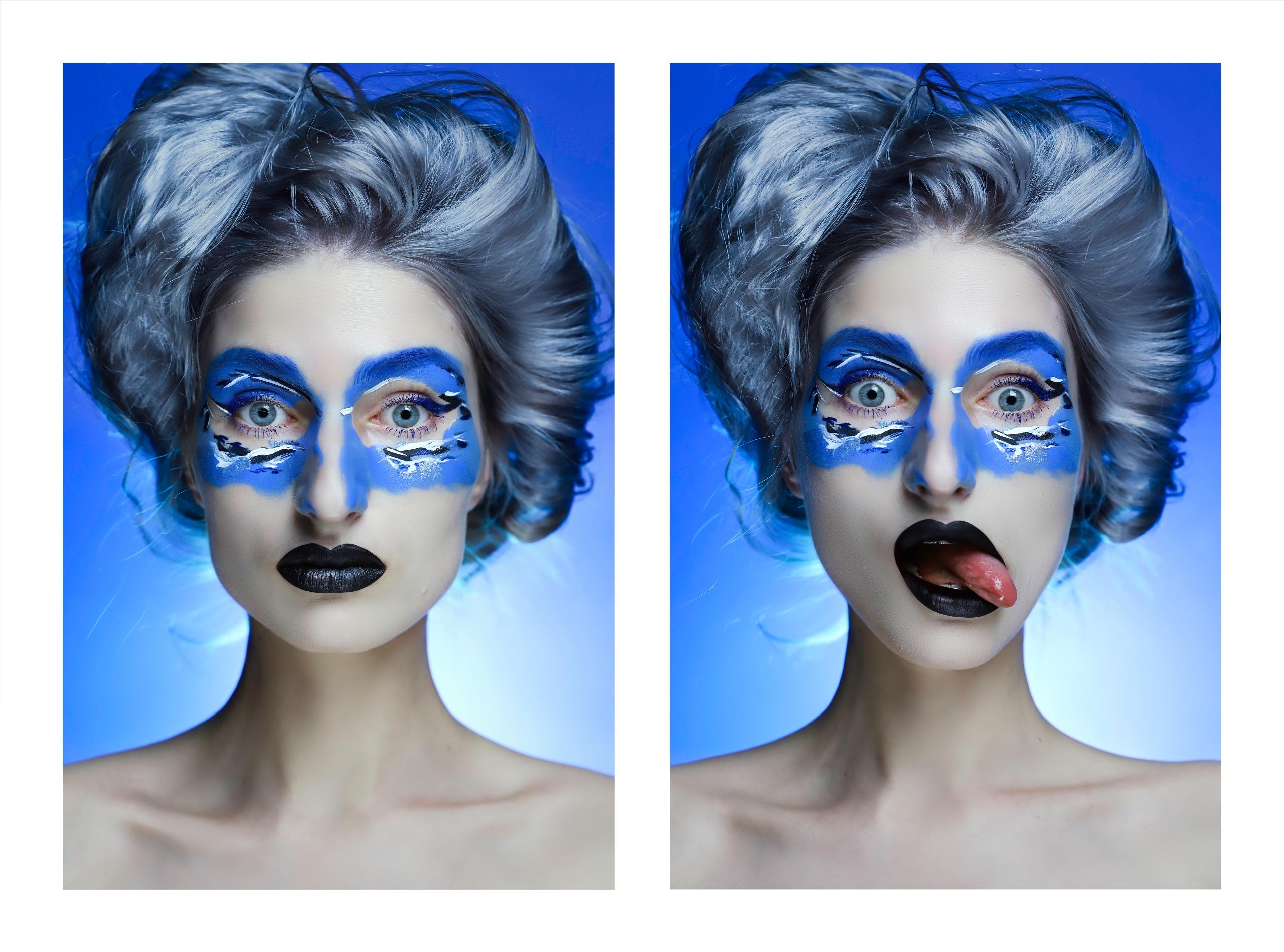 Obraz przedstawia dwa zdjęcia popiersia kobiety w artystycznym makijażu na niebieskim tle.