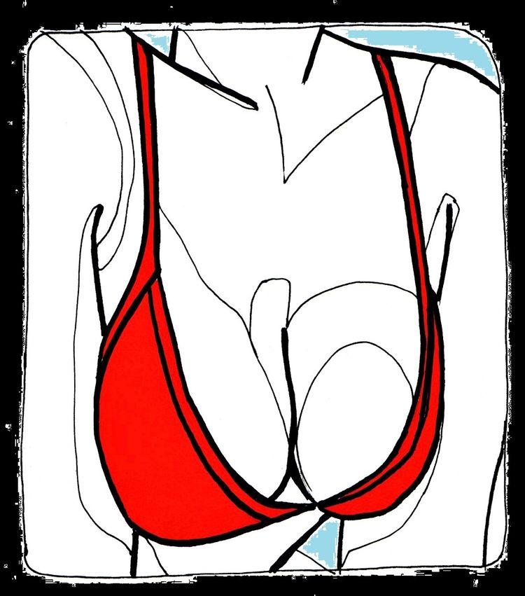 Red Bra Ink paper - illustration - allthingsinky | ello