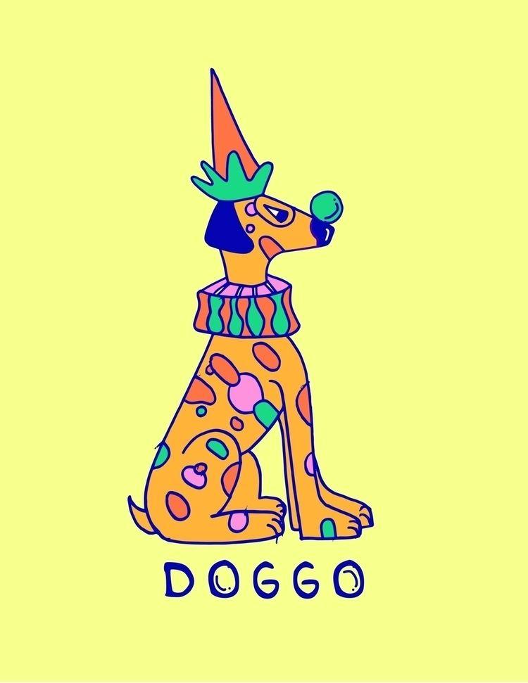 lino cut design character Doggo - shelbyworks   ello