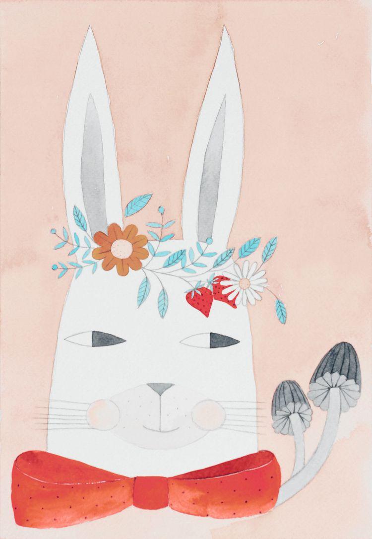 Spring hare - watercolor, illustration - pinknounou | ello