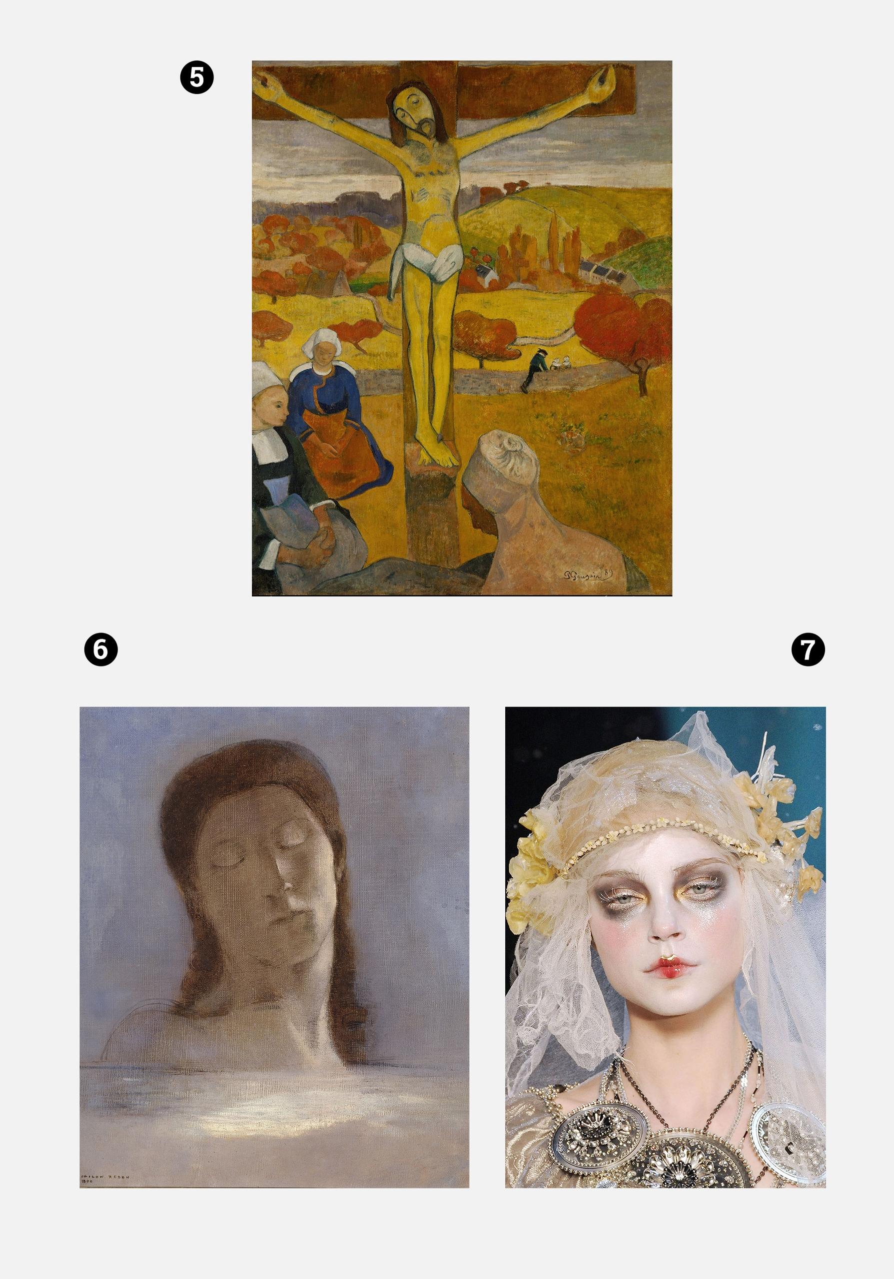 Obraz przedstawia dwa zdjęcia obrazów znanych artystów i jedno zdjęcie twarzy kobiety w makijażu. Wszystko na szarym tle.