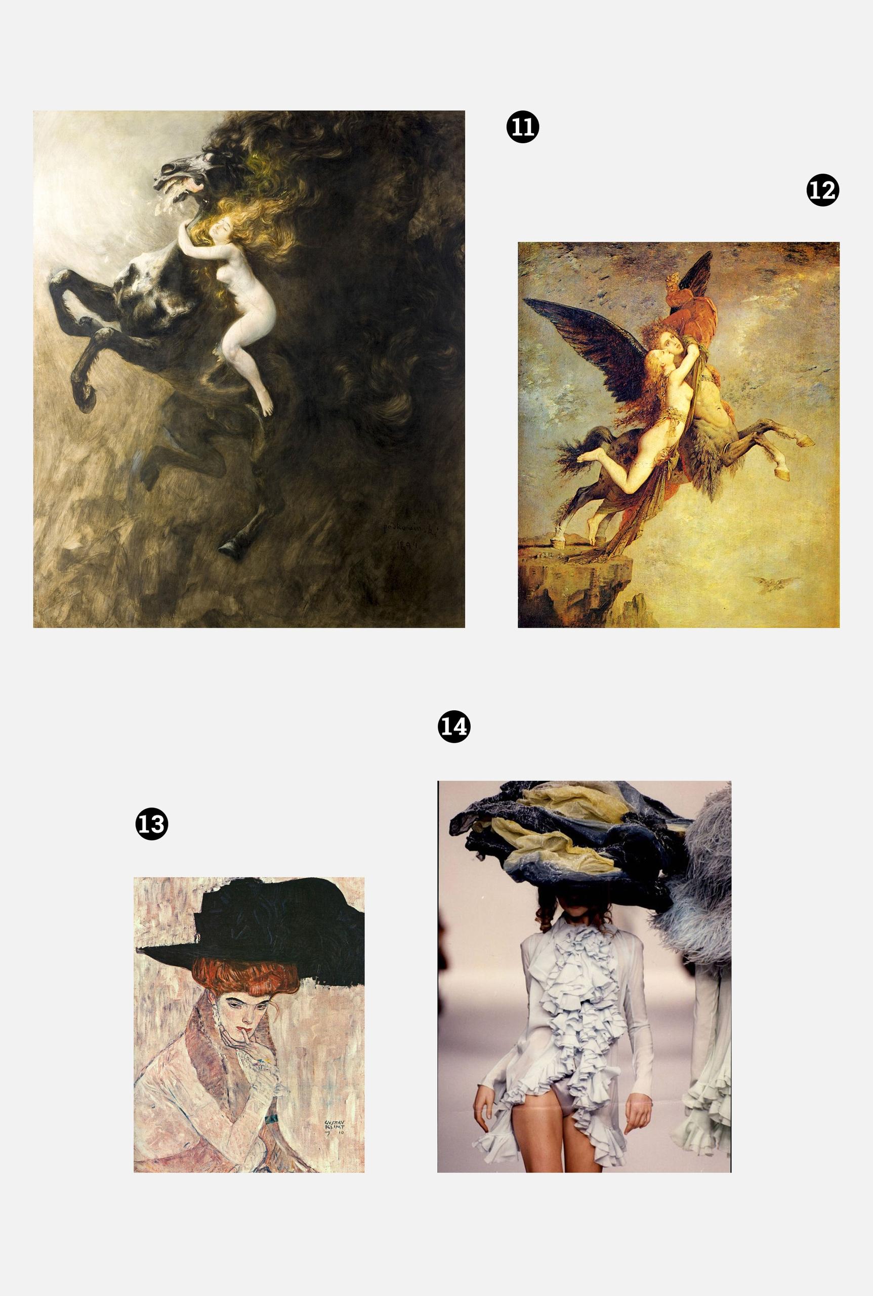 Obraz przedstawia trzy zdjęcia dzieł znanych artystów i jedno zdjęcie modelki w wielkim kapeluszu. Całość na szarym tle.