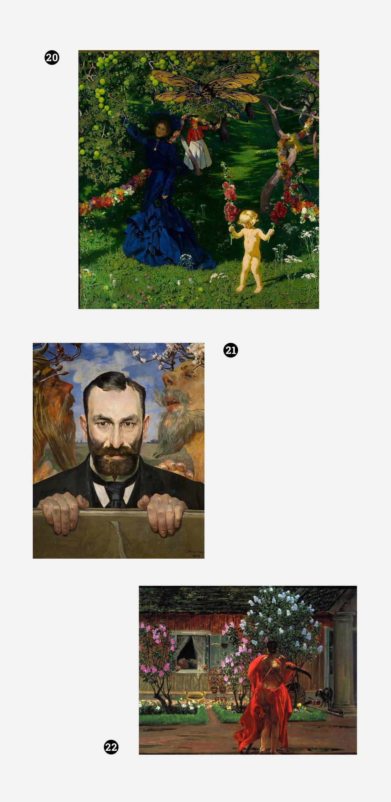 Obraz przedstawia zdjęcia obrazów znanych polskich malarzy na szarym tle.