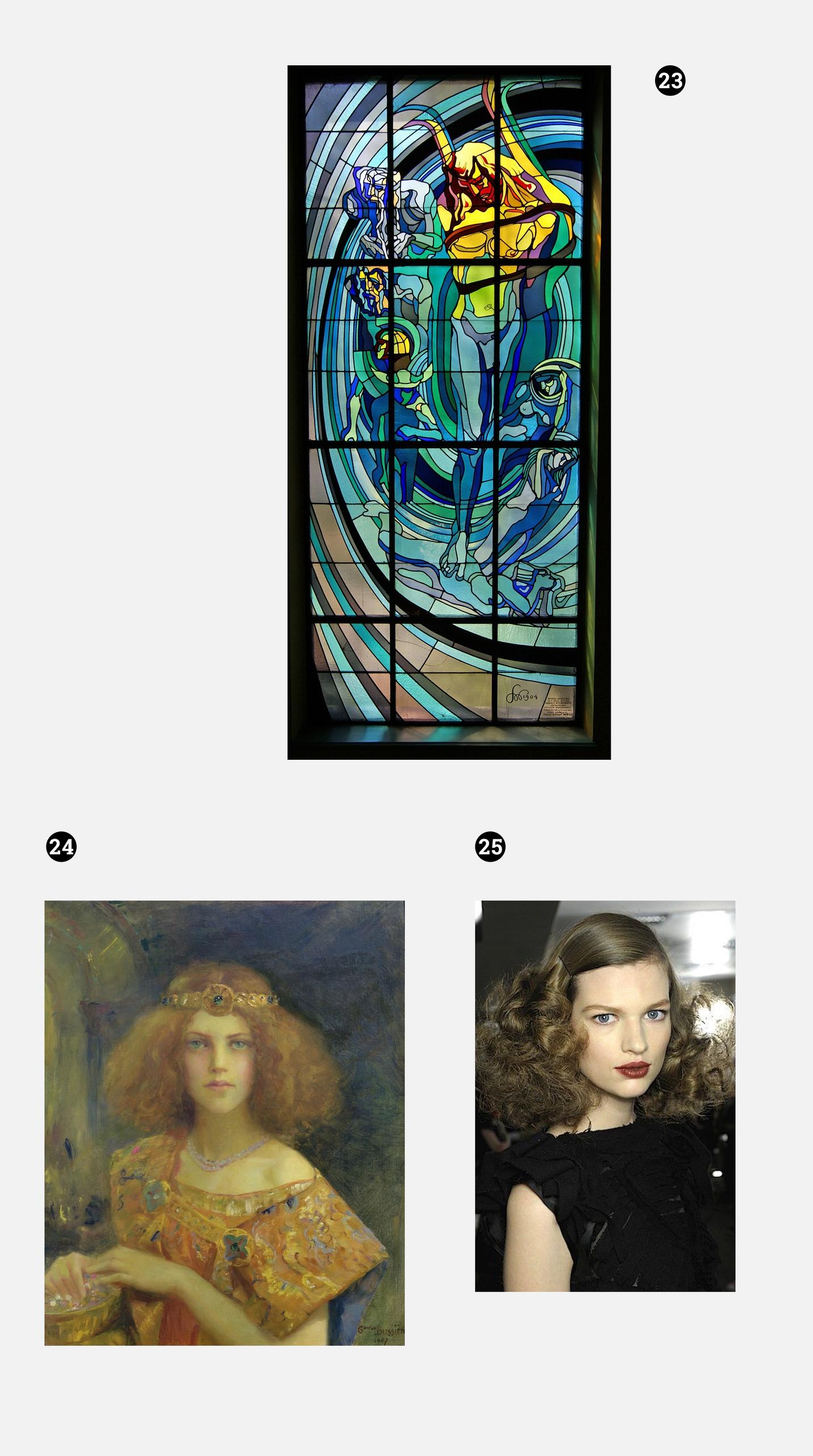 Obraz przedstawia trzy zdjęcia. Na jednym z nich widzimy witraż, na drugim obraz olejny, trzecie przedstawia kobietę z bujnymi włosami. Całość na szarym tle.