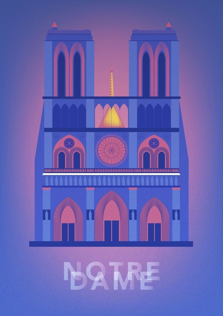 paris, notredame, illustration - ewelinagaska | ello