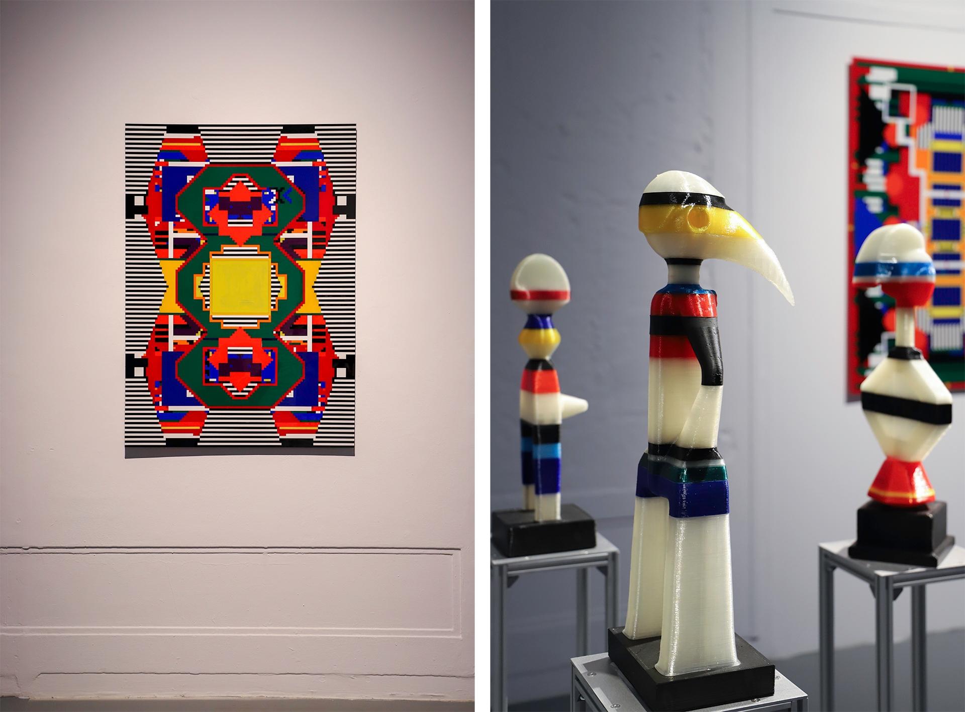Obraz przedstawia dwa zdjęcia, na jednym z nich widzimy obraz znanego artysty na białej ścianie, a na drugim fragment kolorowej rzeźby.
