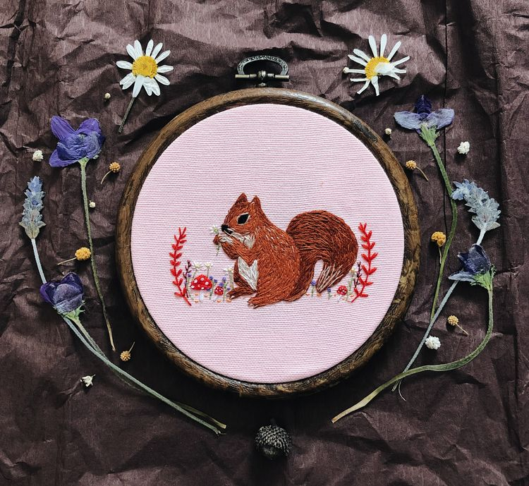 squirrel - embroidery, illustration - elifcesur | ello