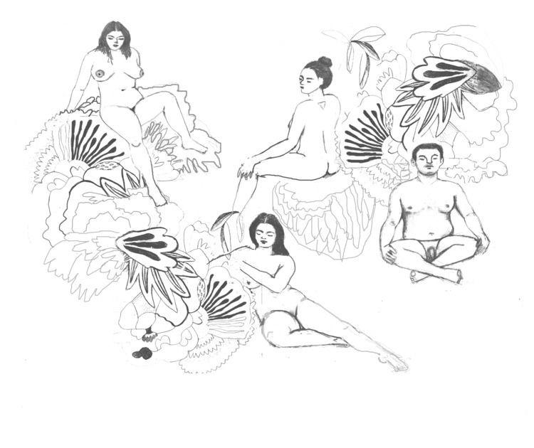 Bodies nature sketch. Pencil di - catherinagm | ello