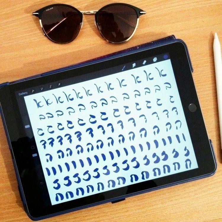 Practicing Hebrew lettering Pro - stemstudygram | ello
