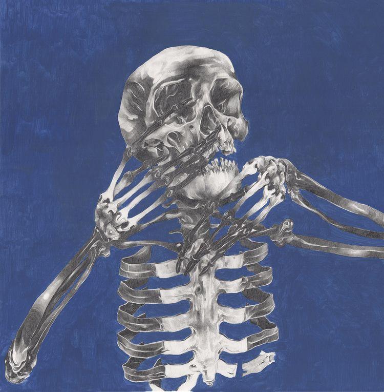 skeletons, oil pencil paper 50x - felixroca | ello