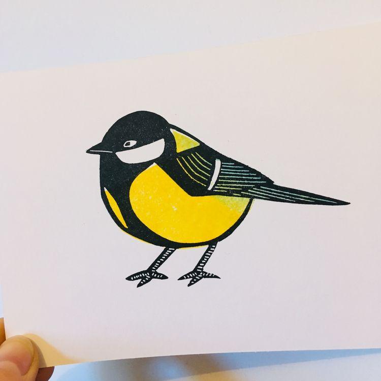 great tit - greattit, bird, linocut - studiomalu | ello
