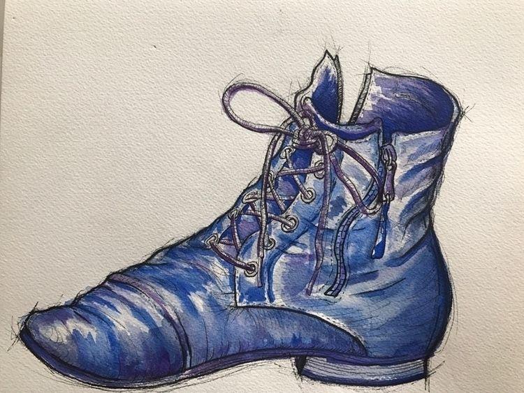 Boot blue - watercolor, penandink - jonnyb_ | ello
