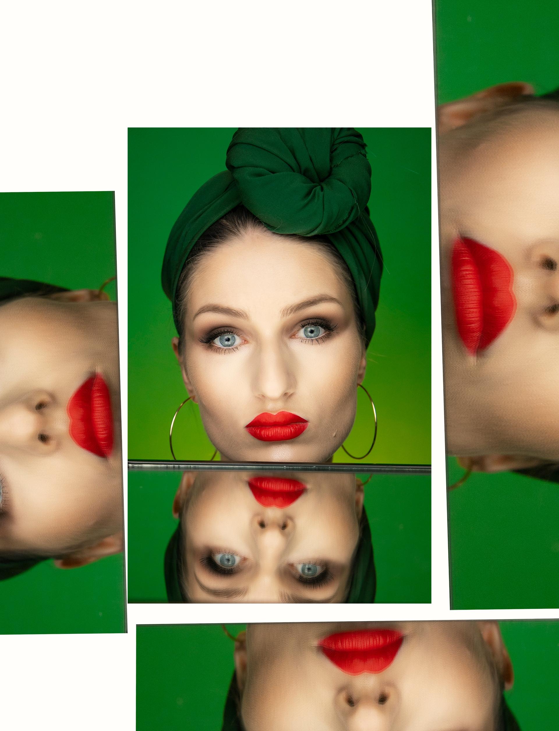 Obraz przedstawia zdjęcia twarzy kobiety z czerwonymi ustami na zielonym tle.