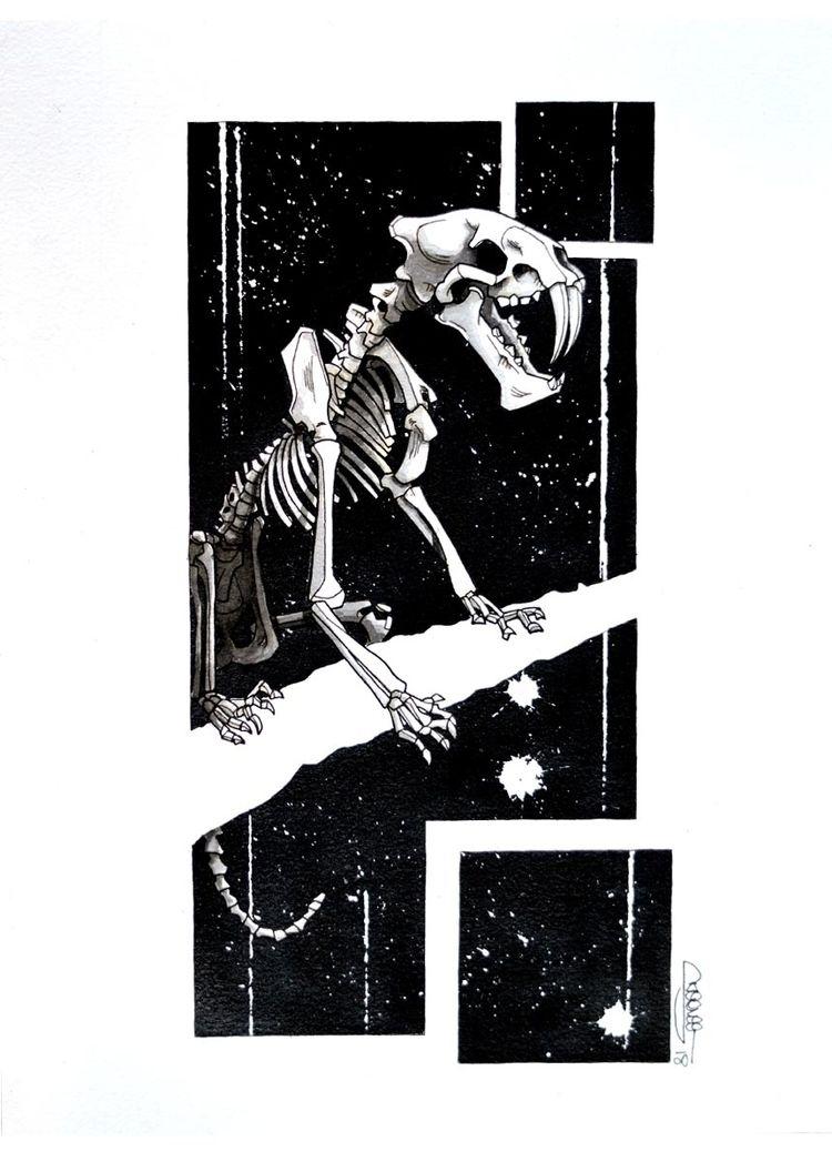 Saber-toothed tiger skeleton, S - skeenee   ello