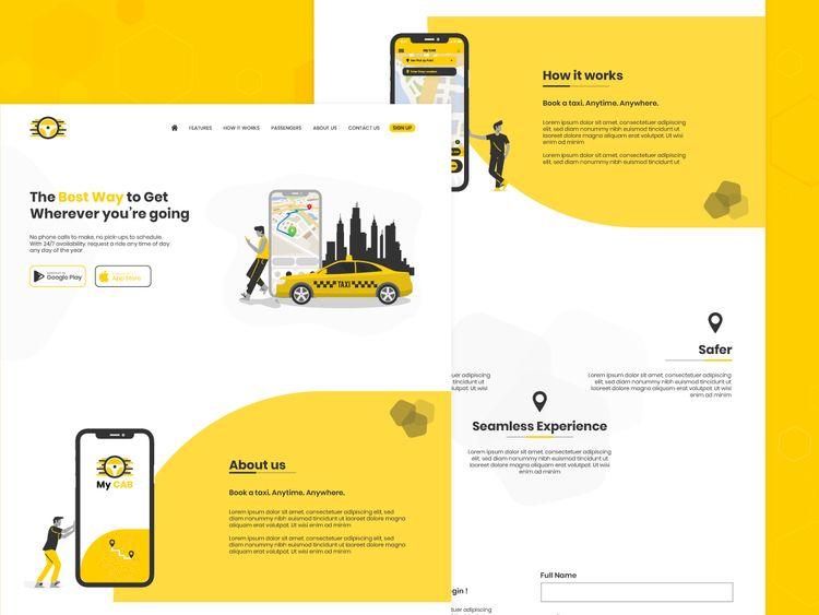 Taxi Booking Landing Page conce - kodytech | ello