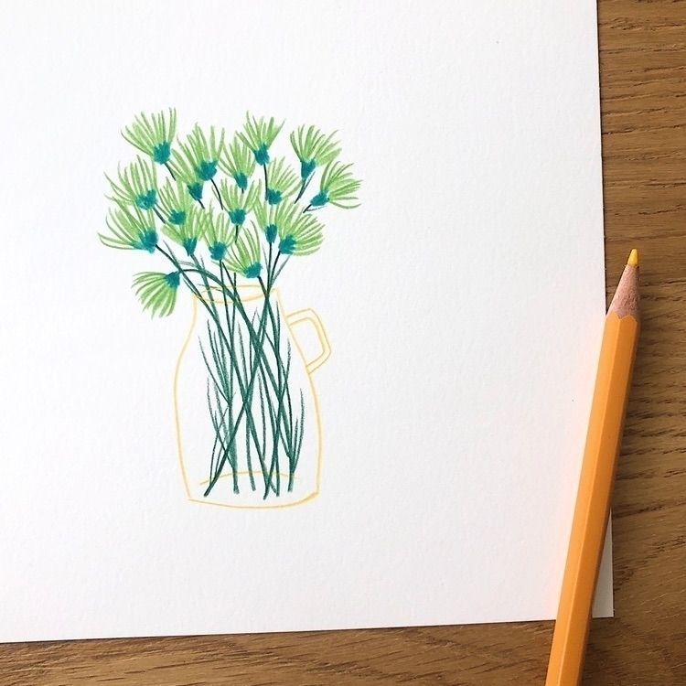 Tiny florals desk morning - pencils - veroniquebenedictson   ello