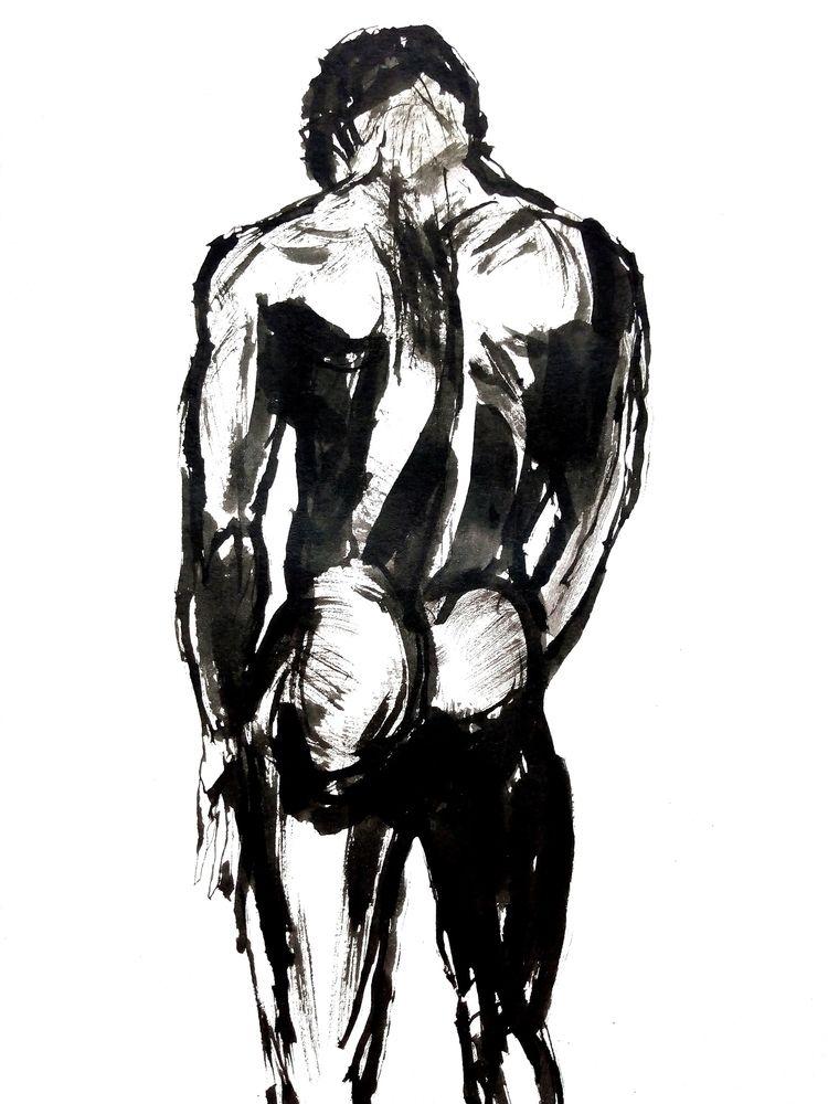 Black swan - nudeart, male, naked - nekotangerine | ello