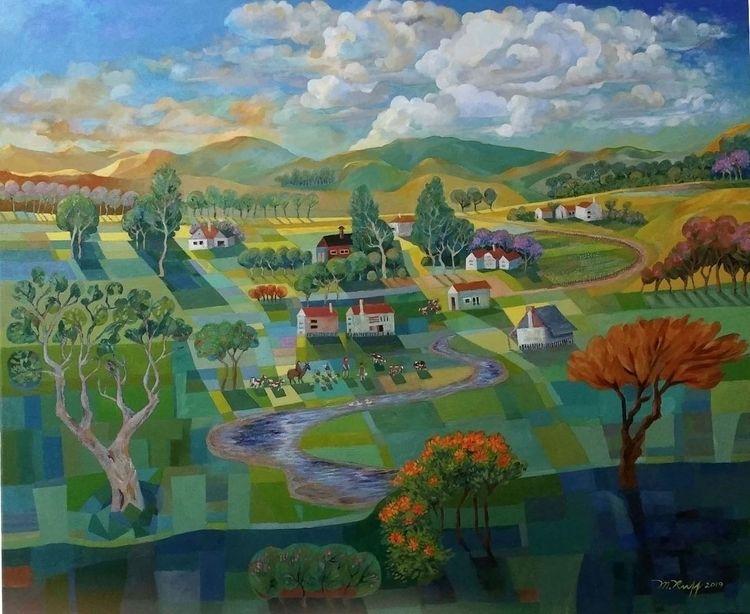 Country Scene acrylic canvas, m - maryanneruff   ello