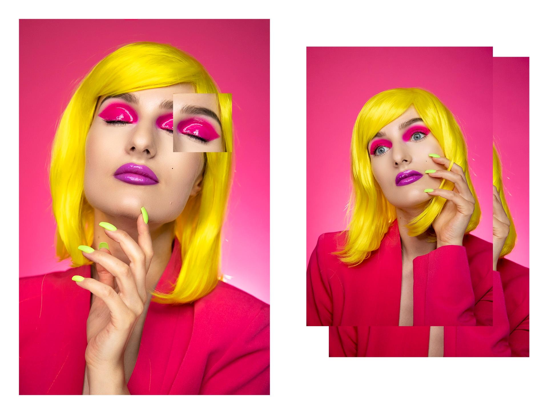 Obraz przedstawia zdjęcia kobiety w różowym makijażu i żółtych włosach. Całość na intensywnie różowym tle.