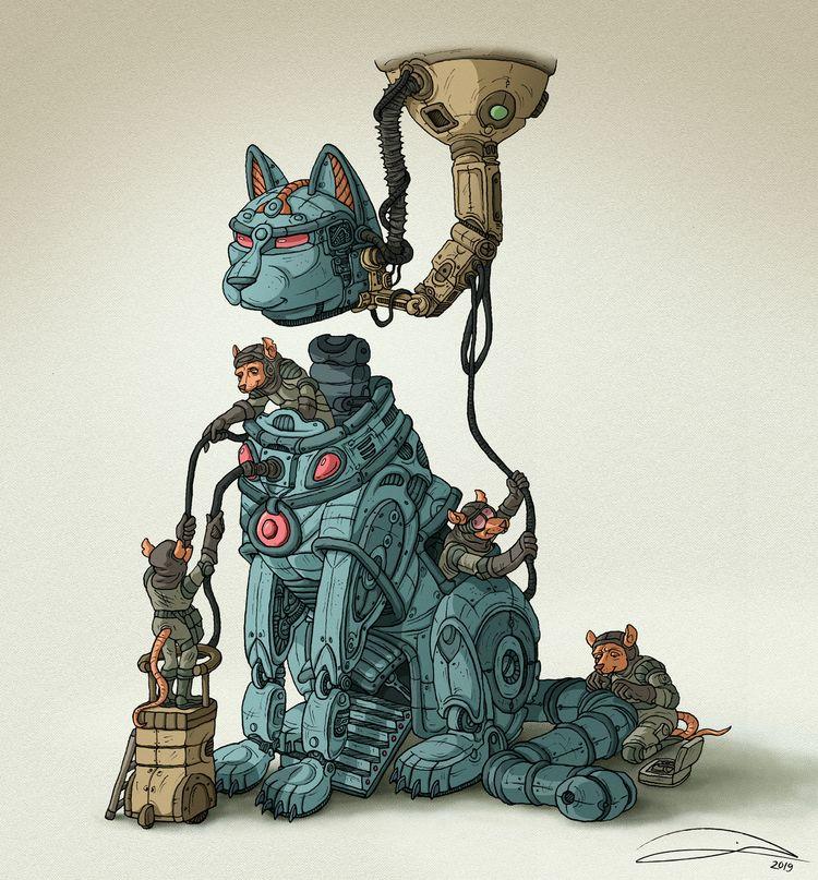 TROJAN CAT, digital - illustration - baruchinbar | ello